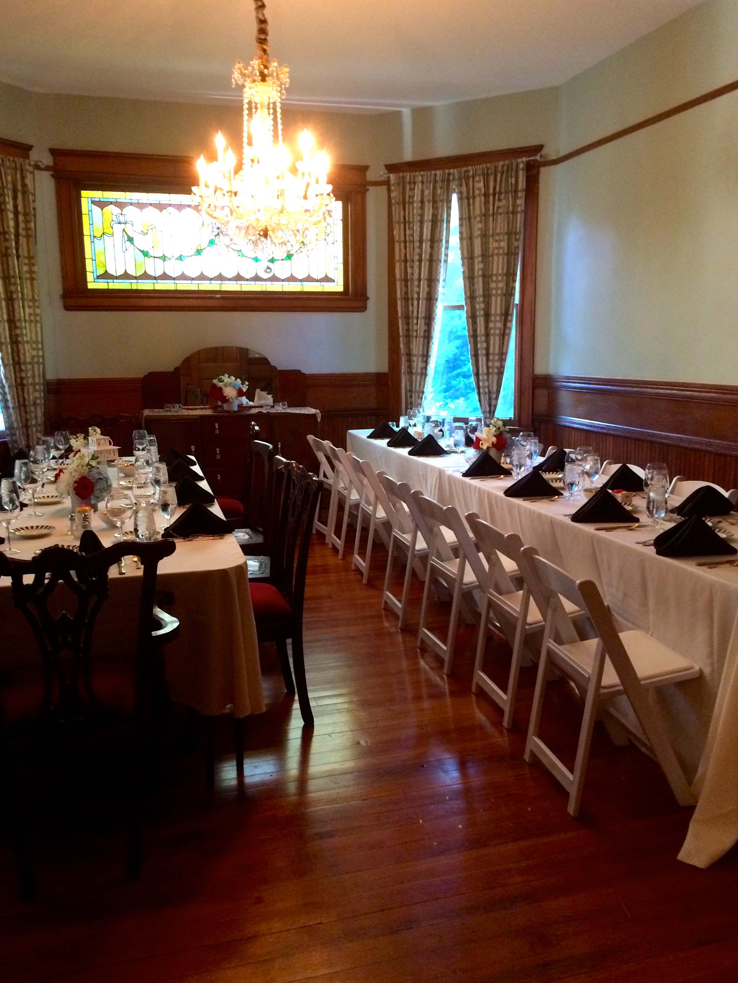 banquet set-up in the dining room