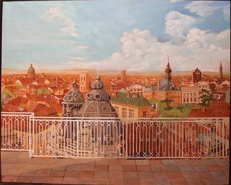 "This Trompe l'Oeil ""Rooves in Toulouse"" completes th  view from a penthouse in the Southern France city."