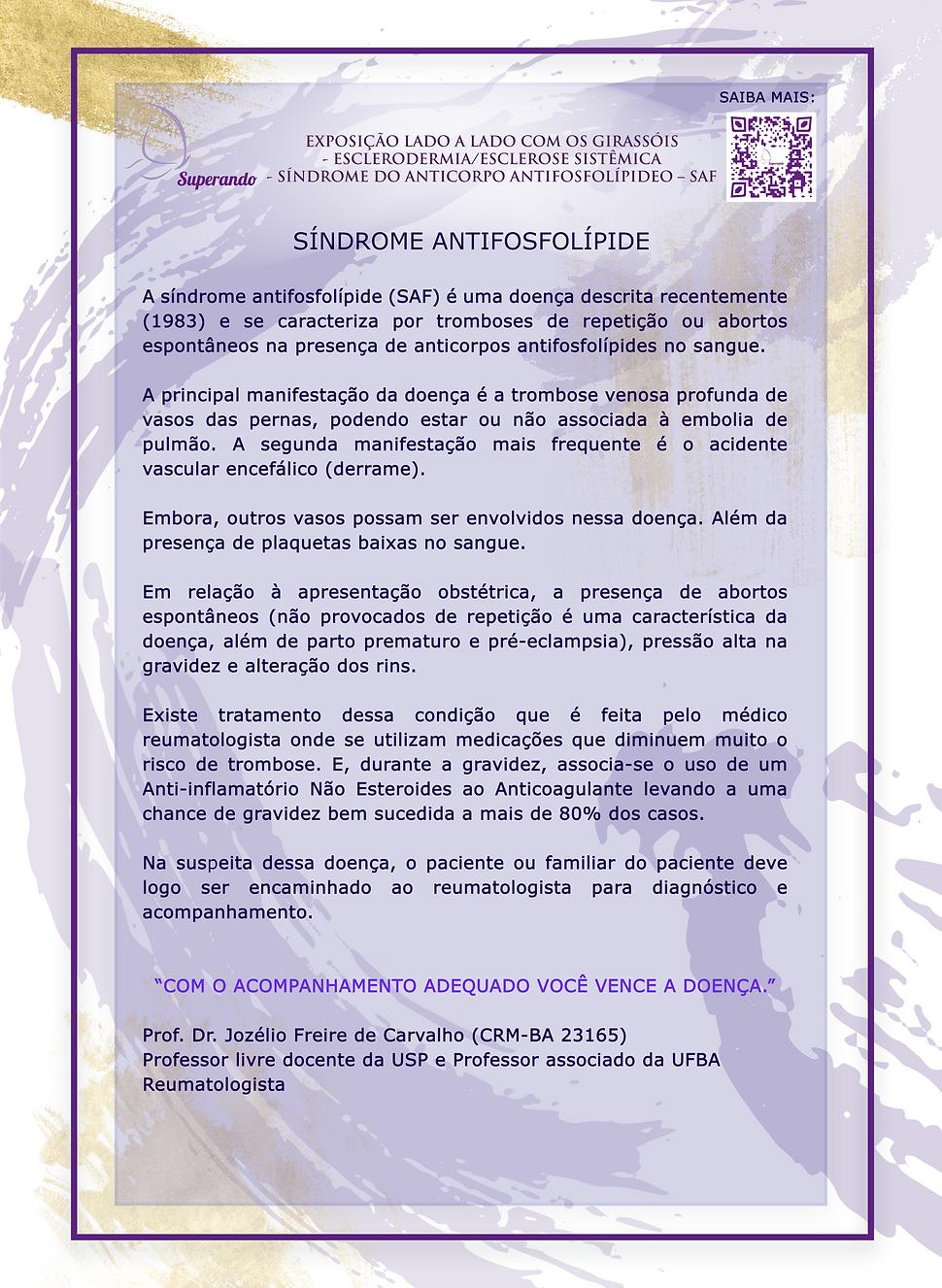 1CARTAZ 05 – SAF – SÍNDROME DO ANTICORPO