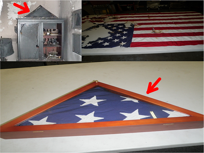 A damaged American flag, before and after being restored.