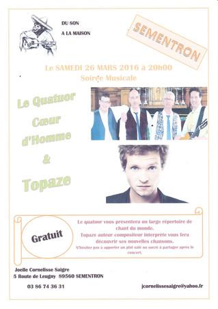 Nouveau concert du Quatuor Coeur d'Homme le 26 mars 2016