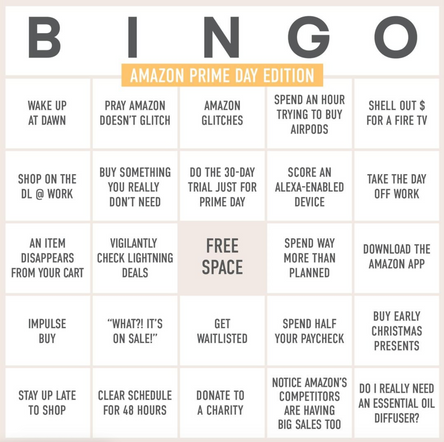 I wrote the copy for this Amazon Prime Day Bingo Board for Honey's Twitter, Instagram and Facebook.