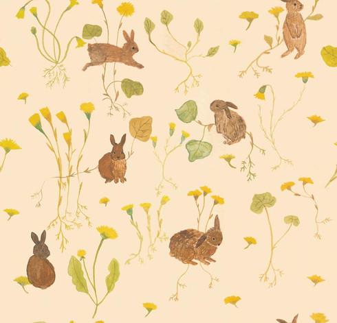 The wild rabbits テキスタイルデザイン
