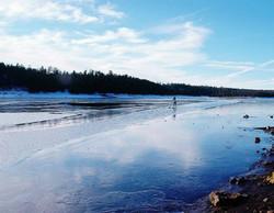 Paddling iced lake
