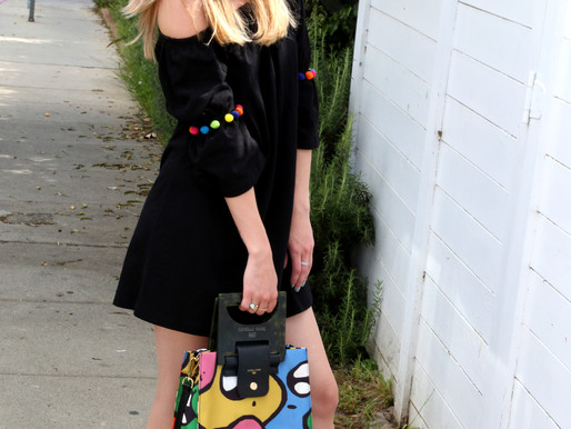 We found the perfect beach dress to go with our multicolor HANNA Shopper!
