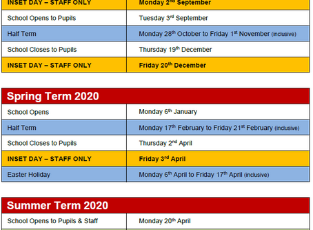 Important: Change to Inset Days