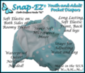Snap-EZ Youth and Adult Pocket Diaper Information