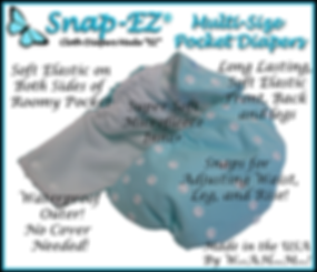 Snap-EZ Multi-size pocket diaper Information