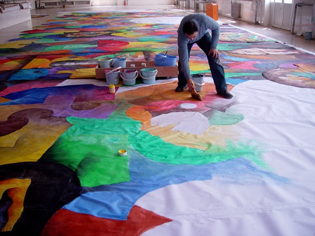 Pintando cudro de la Gran Muralla