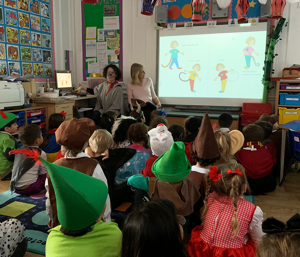 Cate Douglas reading Poppy's Tail at Eaton Square School on World Book Day