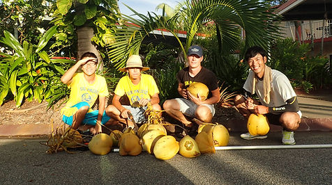 Garden interns with coconuts