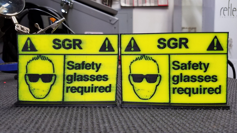 Two 3d printed signs