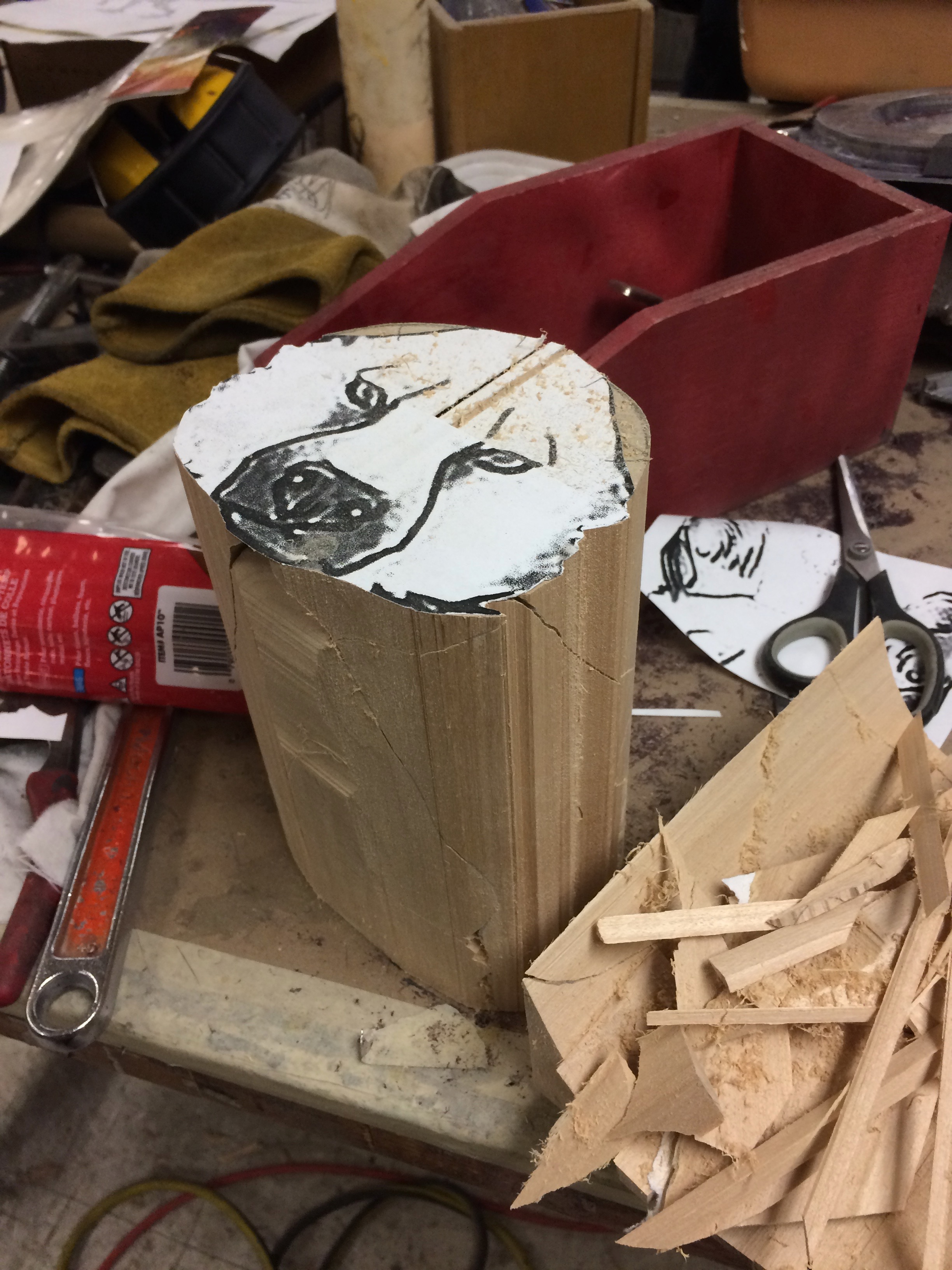 Bass wood head band saw cuts