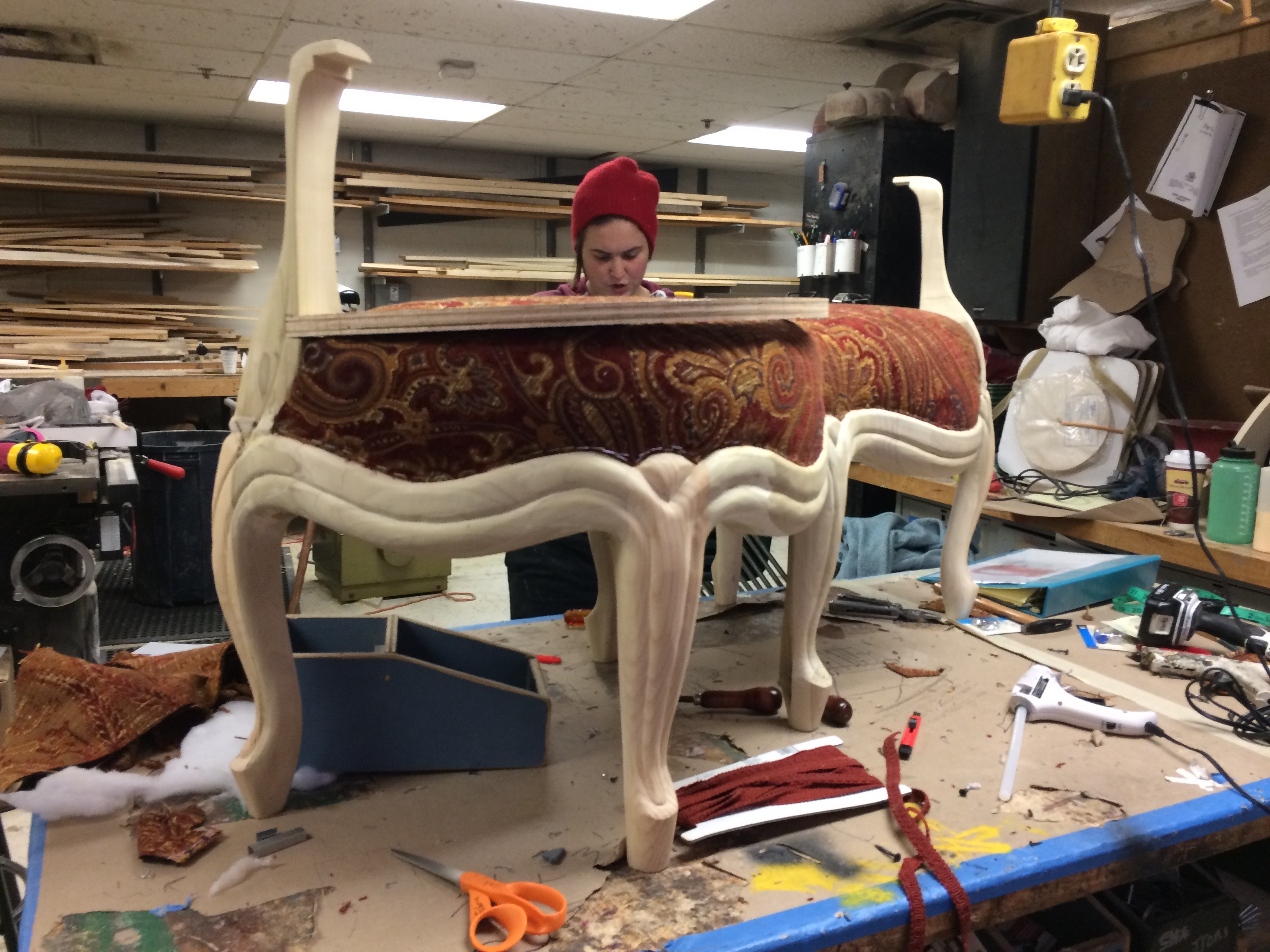 Custom carved legs and sides