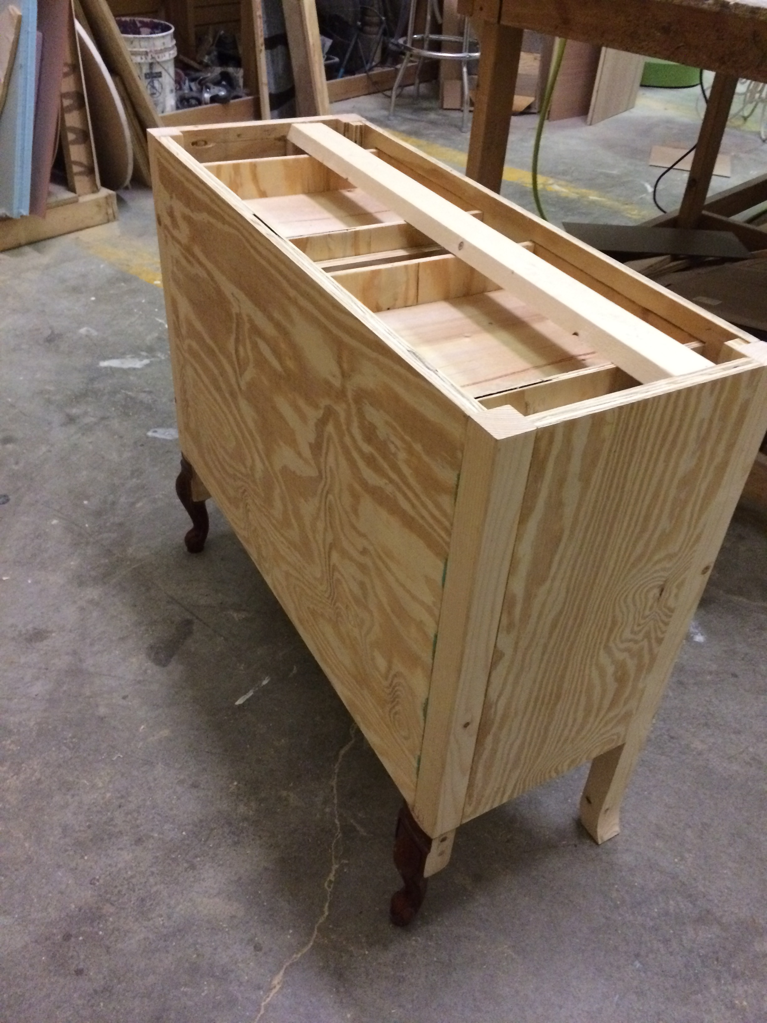 Top interior of drawers