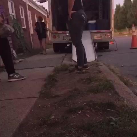 Loading the rental truck.
