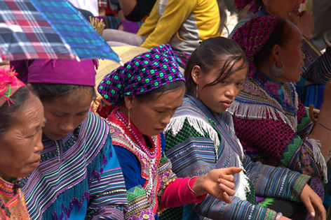 Hmong women at a market in North Vietnam