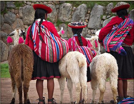 Peruvian girls traditional dress Alpacas