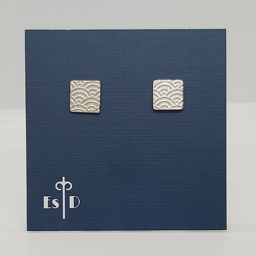 Art Deco Scallop Pattern Earrings - Square