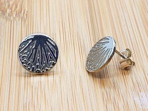Palm Leaf Round Earrings