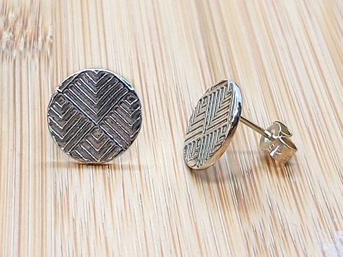 Art Deco Geometric Round Earrings - Round