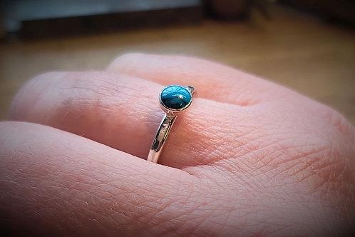 Turquoise Matrix Cabochon Ring (5mm)