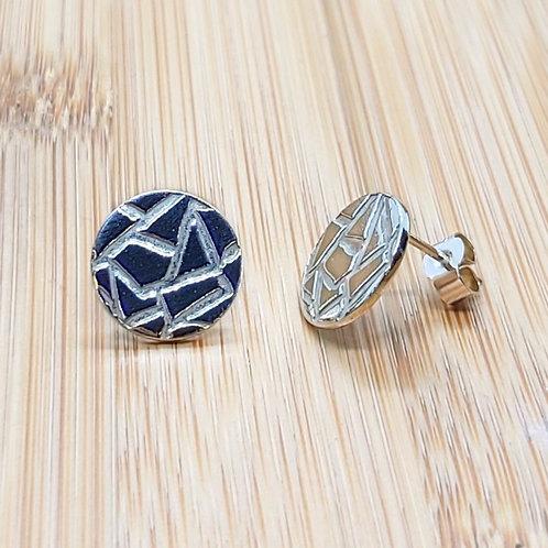 Geo Print Round Earrings