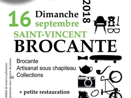 Brocante à St-Vincent le 16 septembre