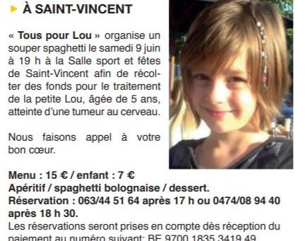 Tous pour Lou le 9 juin à Saint-Vincent