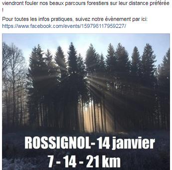 Jogging à Rossignol le 14 janvier 2018