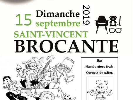 Brocante à Saint-Vincent le 15 septembre