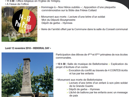 Commémorations du centenaire de l'armistice de 14-18 ces 11 et 12 novembre