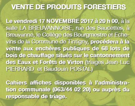 Vente de produits forestiers, vendredi 17, à Breuvanne
