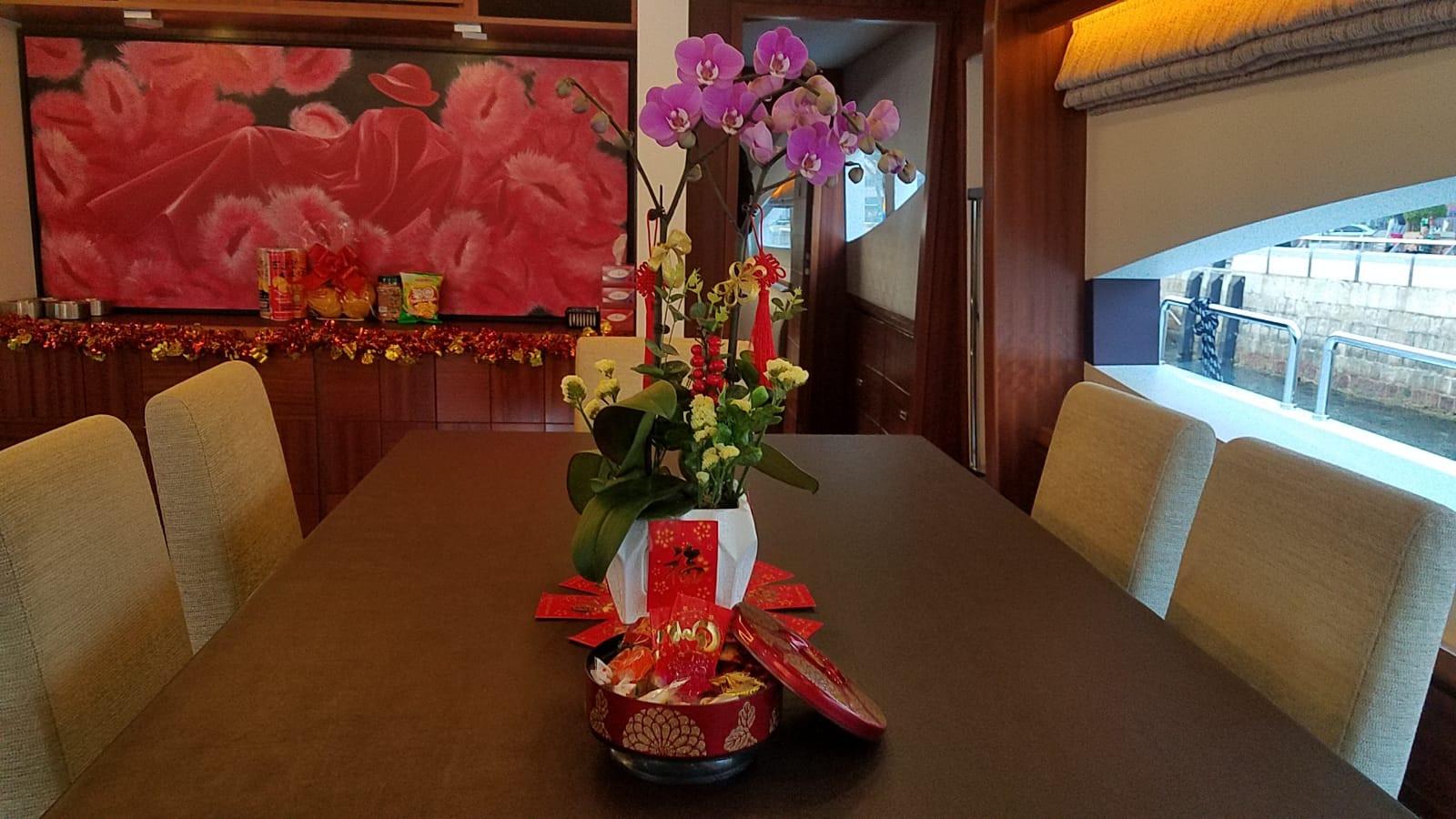 CNY decorations on boat