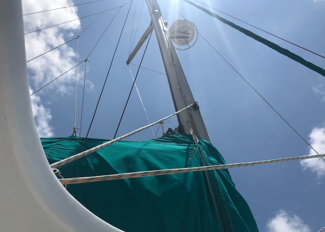 Sail on catamaran