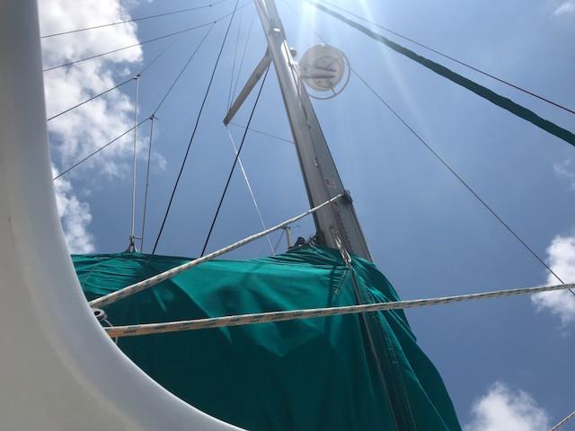 Sail on catamaran