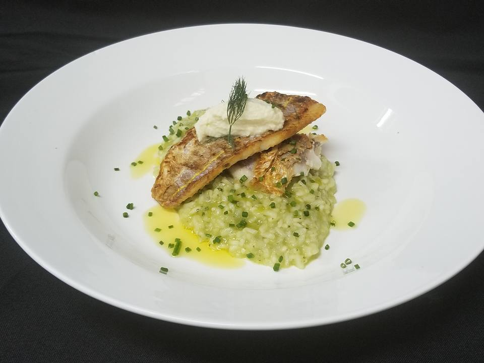 Pan-fried red snapper with pesto risotto
