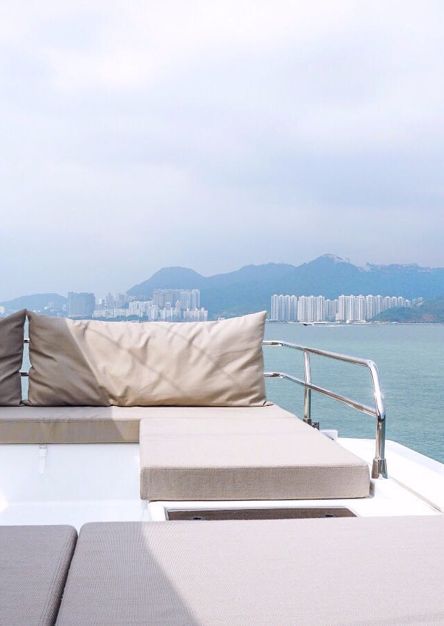 Sofa on sailing boat