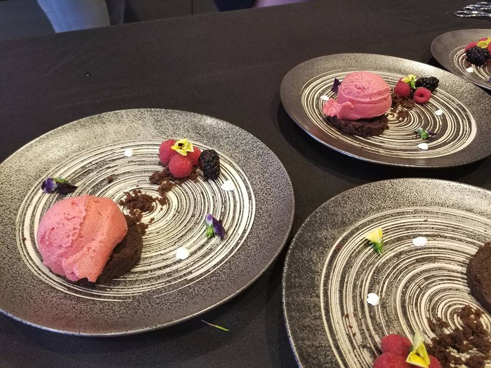 chocolate mousse with Raspberry sorbet a