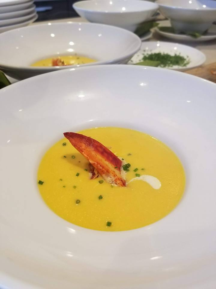 Lobster claw corn chowder soup