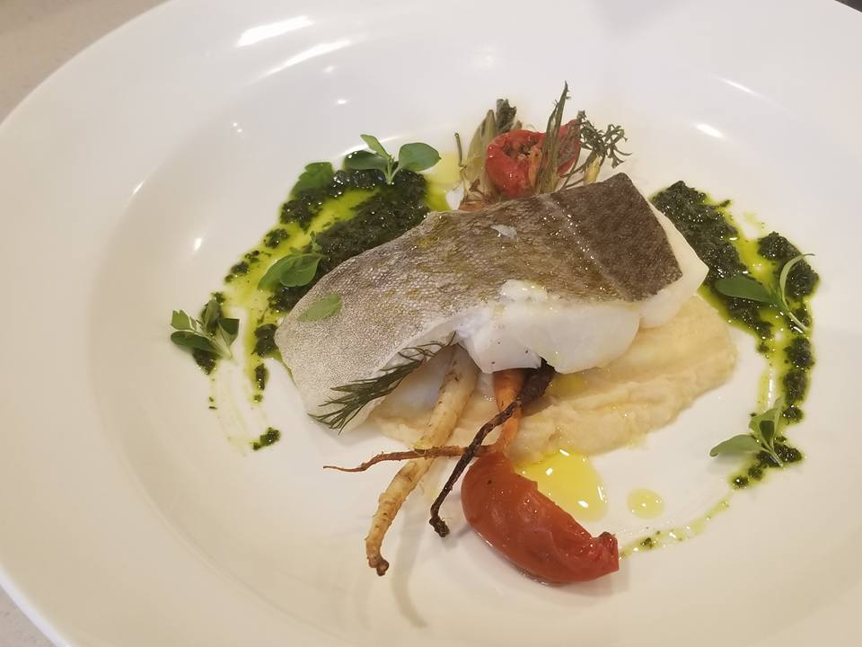 Atlantic cod with celeriac puree, sundri