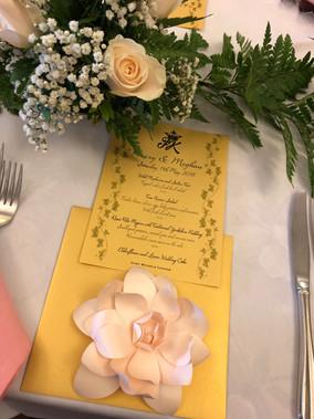 Royal Wedding Menu & paper flower