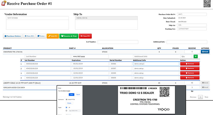 TRXio: New Vendor Purchase Order Feature
