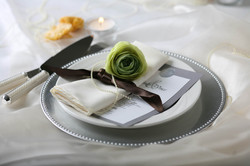 Ribbon and Pearl Wrapped Napkin