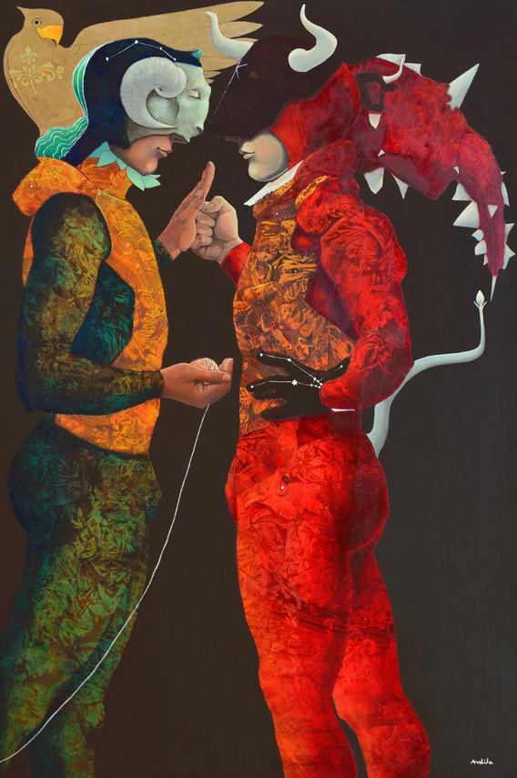 """BLIND COMBAT (THESEUS AND THE MINOTAUR)"" by Luis Ardila"
