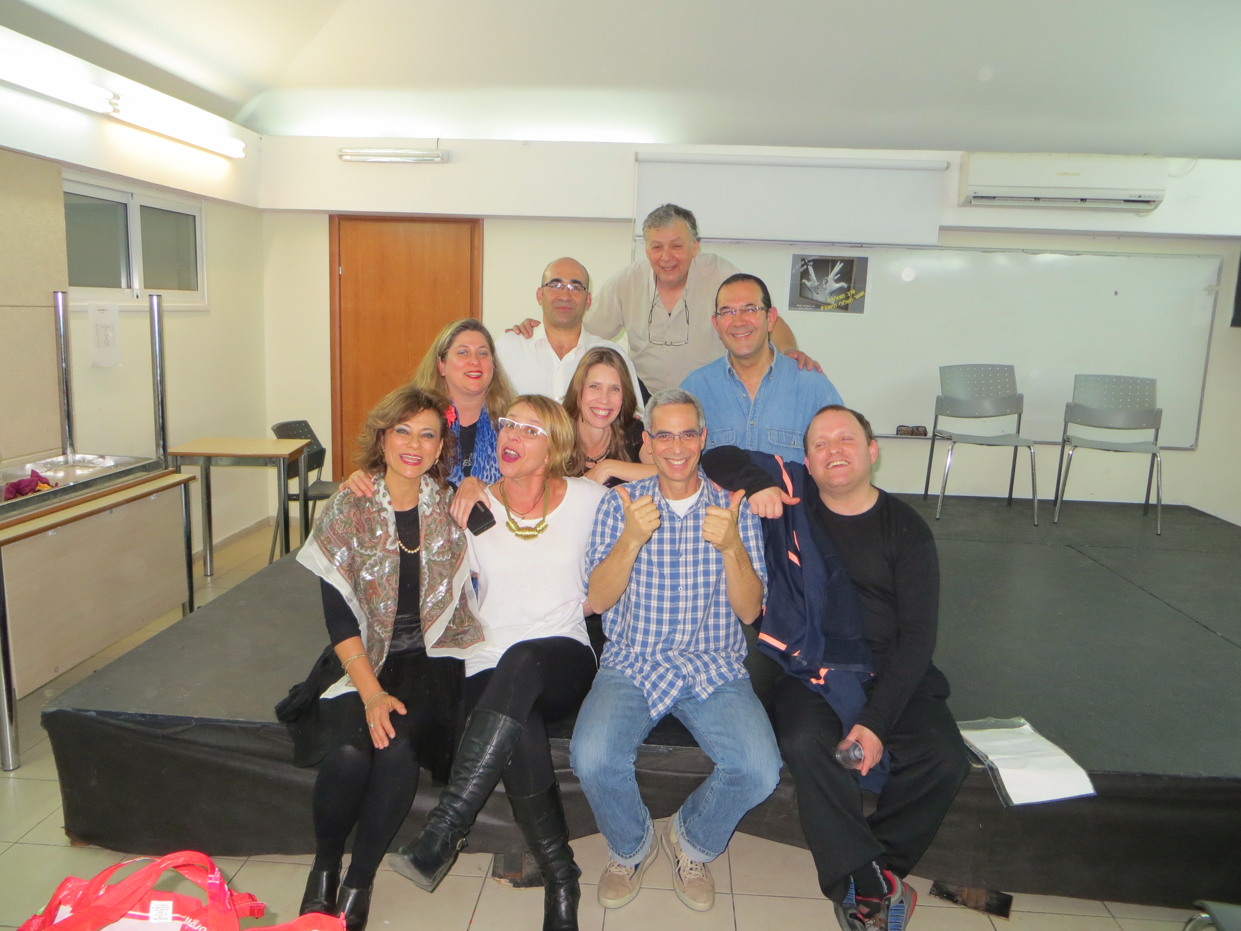With the theatre group