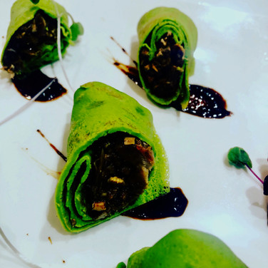 Duck Spinach Crepes