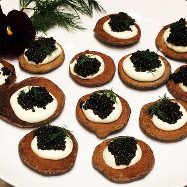 Caviar Buckwheat Blinis/ Creme Fraiche