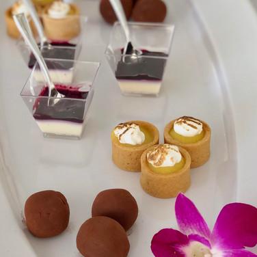 Passed Desserts - Chocolate Truffles | Lemon Meringue Tarts | Vanilla Panna Cotta with Blueberry Compote