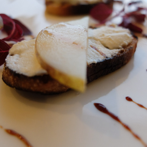 Grilled Crostini/ Ricotta/ Pear/ Balsamic